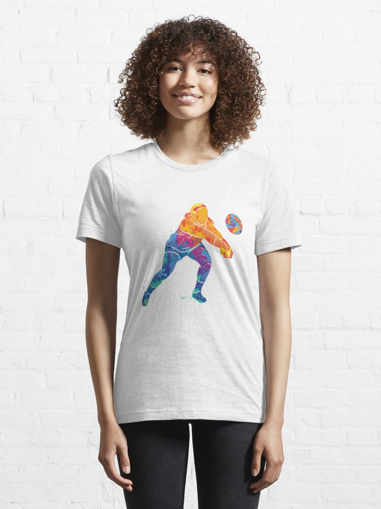 Alternate view of Watercolor Volleyball Girl Essential T-Shirt