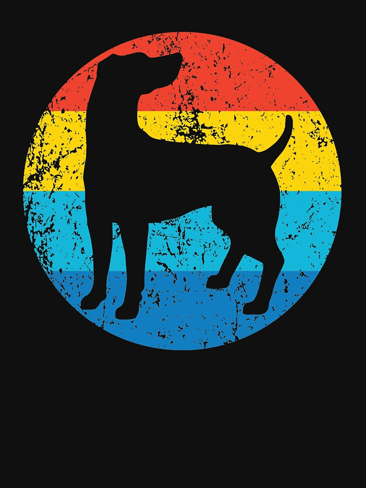 Weimaraner Dog Breed Silhouette Retro 1970's Circle by ReallyAwesome