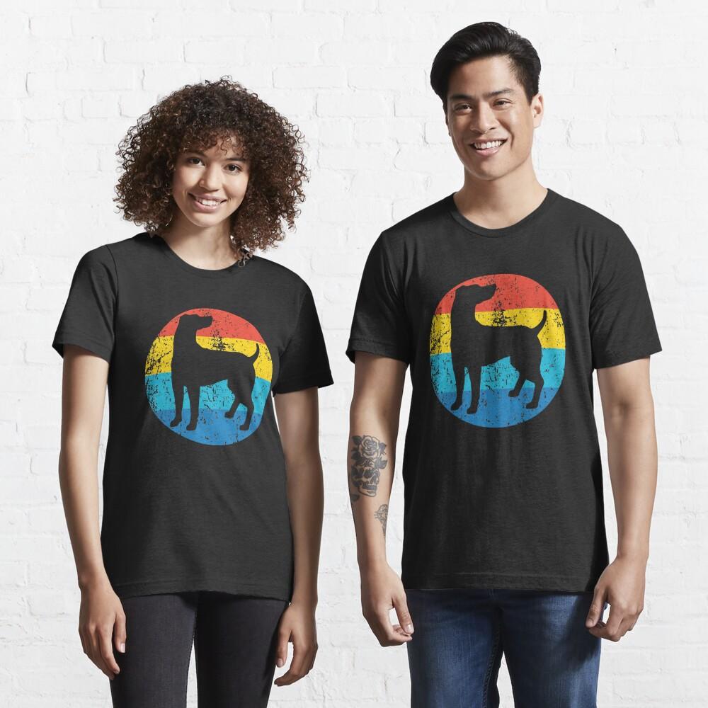 Weimaraner Dog Breed Silhouette Retro 1970's Circle Essential T-Shirt