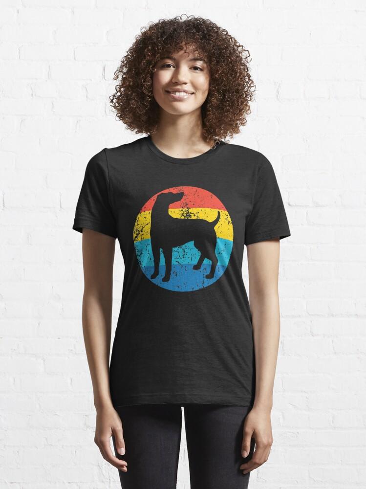 Alternate view of Weimaraner Dog Breed Silhouette Retro 1970's Circle Essential T-Shirt
