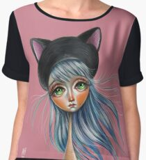 Kit Cat :: Girl in Her Kitty Hat Illustration Chiffon Top