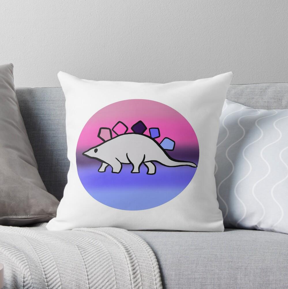 Omnisexual pride stegosaurus design Throw Pillow