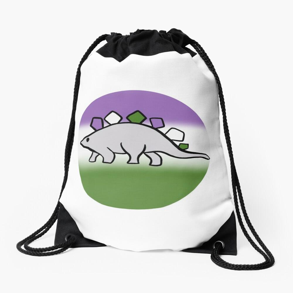 Genderqueer pride stegosaurus design Drawstring Bag