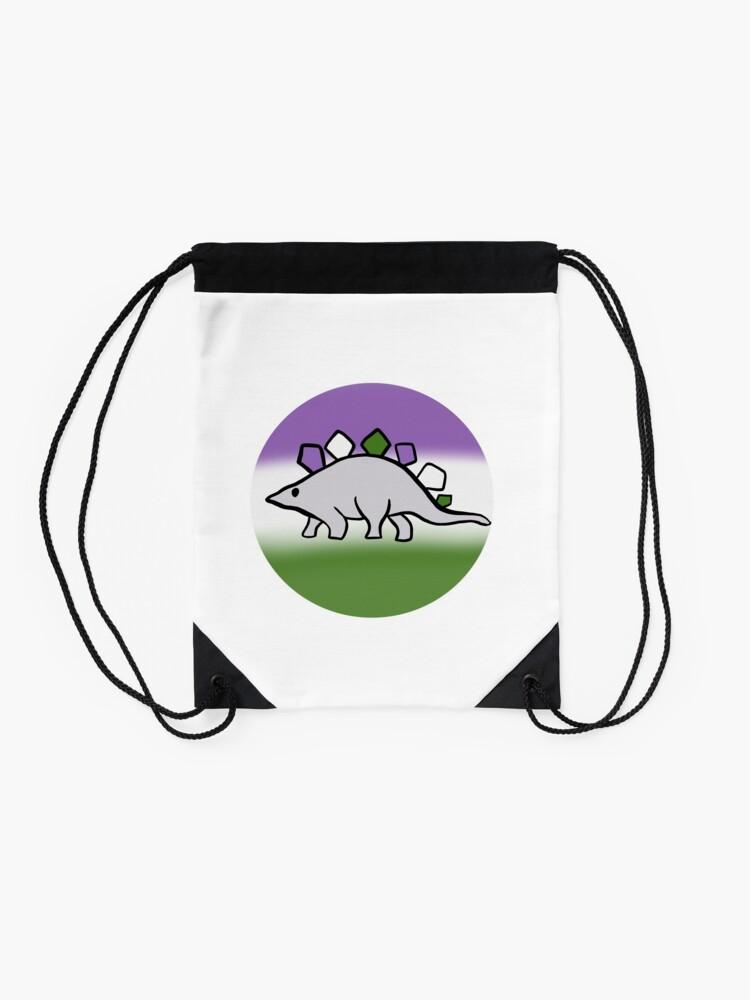 Alternate view of Genderqueer pride stegosaurus design Drawstring Bag