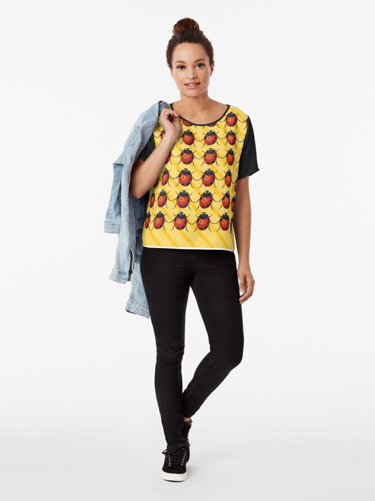 Alternate view of Ladybirds with Yellow Stripes Pattern Chiffon Top