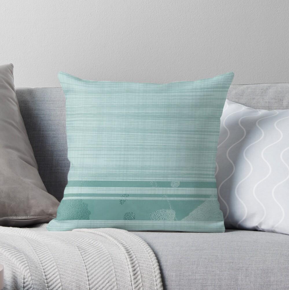 Mix and match. Retro textured pale turquoise, light aqua marine, blue green, sea green - simple and stylish. Caroline Laursen original Throw Pillow