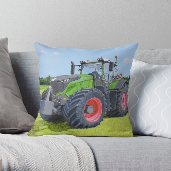 Green Tractor in Field Throw Pillow
