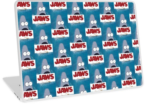 Fresh Patrick Star X Jaws Meme Laptop Skins By The Buff Fish From