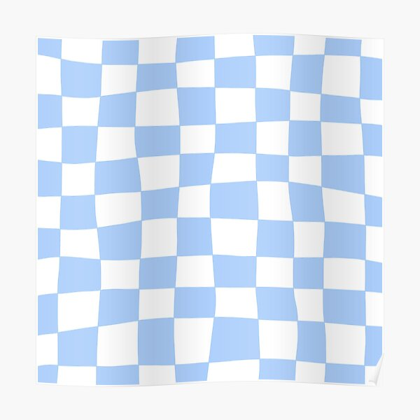 Hand Drawn Checkerboard Pattern (sky blue/white) Poster