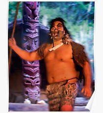 """Maori """"Warrior"""" at Hangi Poster"""