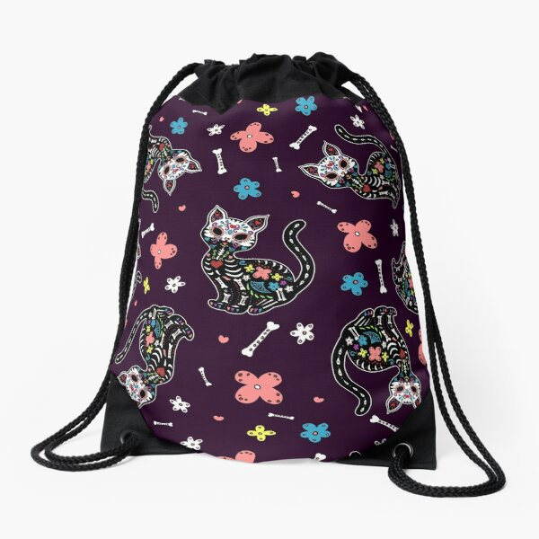 Dia de los Gatos Drawstring Bag