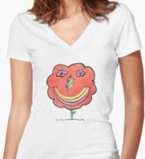 Flower Lightning Smile Women's Fitted V-Neck T-Shirt