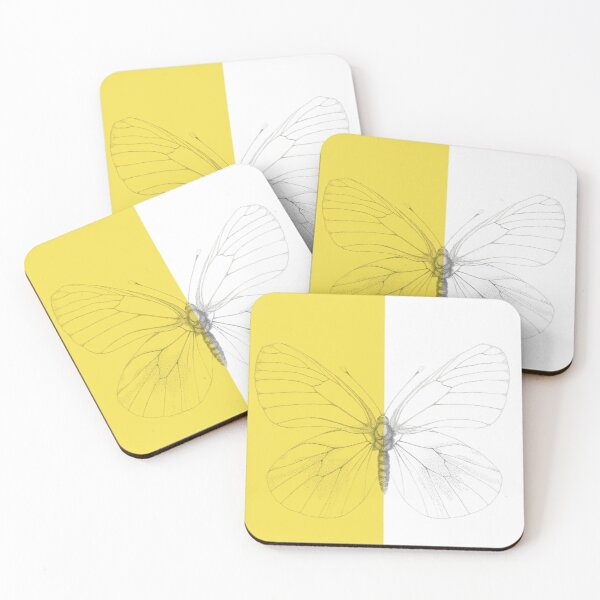 Black-veined white butterfly Coasters (Set of 4)