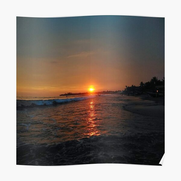 Sunset by the Beach and Ocean Waves Poster