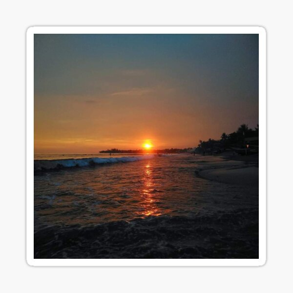 Sunset by the Beach and Ocean Waves Sticker