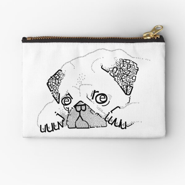 Typography Pug Zipper Pouch