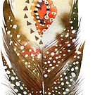 Brown tones tribal feather watercolors illustration by artonwear
