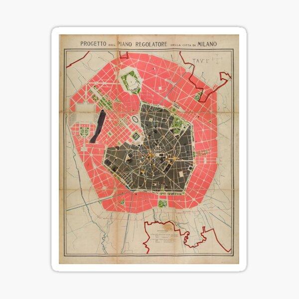 Vintage Map of Milan Italy (1884) Sticker