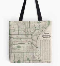 Vintage Map of Milwaukee Wisconsin (1909) Tote Bag