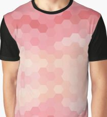 Pink Abstract Honeycomb Pattern Graphic T-Shirt
