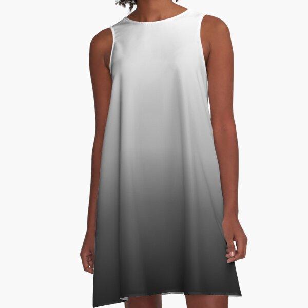 Black, Gray, & White Ombre A-Line Dress