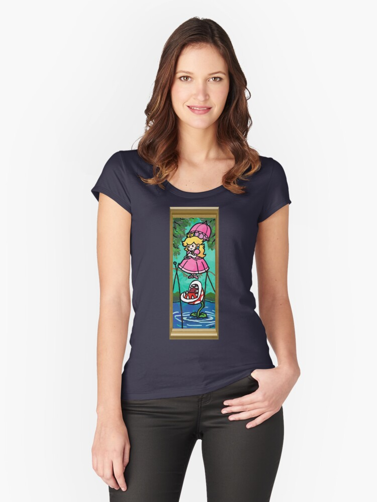 Mario Meets the Mansion Women's Fitted Scoop T-Shirt Front