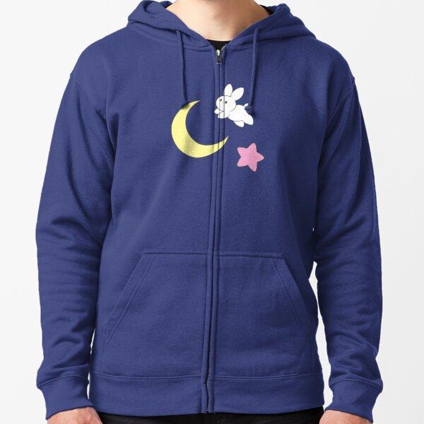 Conejo de la luna Sudadera con capucha y cremallera