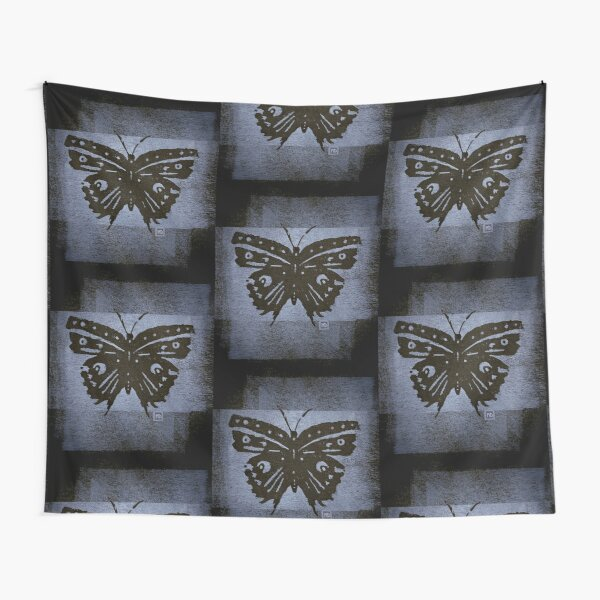 Butterfly Woodblock Print (Blue) Tapestry