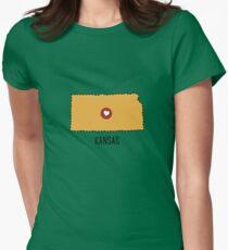 Kansas State Heart Womens Fitted T-Shirt