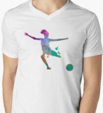 Camiseta de cuello en V Mujer futbolista 03 en acuarela