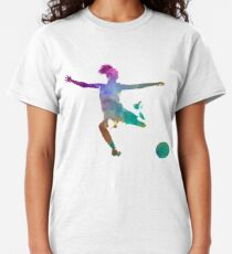 Woman soccer player 03 in watercolor Classic T-Shirt