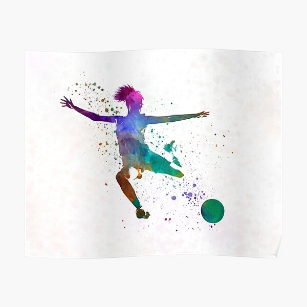 Woman soccer player 03 in watercolor Poster