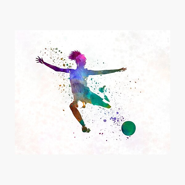 Woman soccer player 03 in watercolor Photographic Print