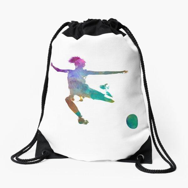 Woman soccer player 03 in watercolor Drawstring Bag