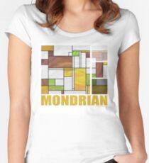 Mondrian Brown Yellow Green  Women's Fitted Scoop T-Shirt