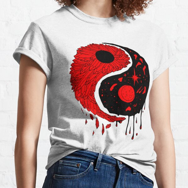 Red and Black Yin Yang Crystals and The Night Sky Classic T-Shirt