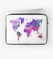 World map in watercolor  Laptop Sleeve
