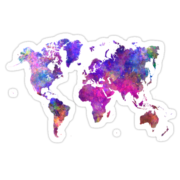 Quot World Map In Watercolor Quot Stickers By Paulrommer Redbubble