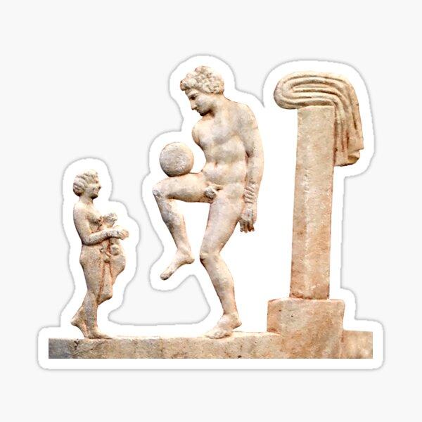 Ancient Greek Football/Soccer Player (On Blue) Sticker