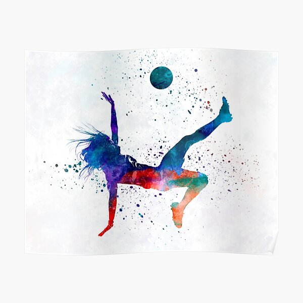 Woman soccer player 08 in watercolor Poster