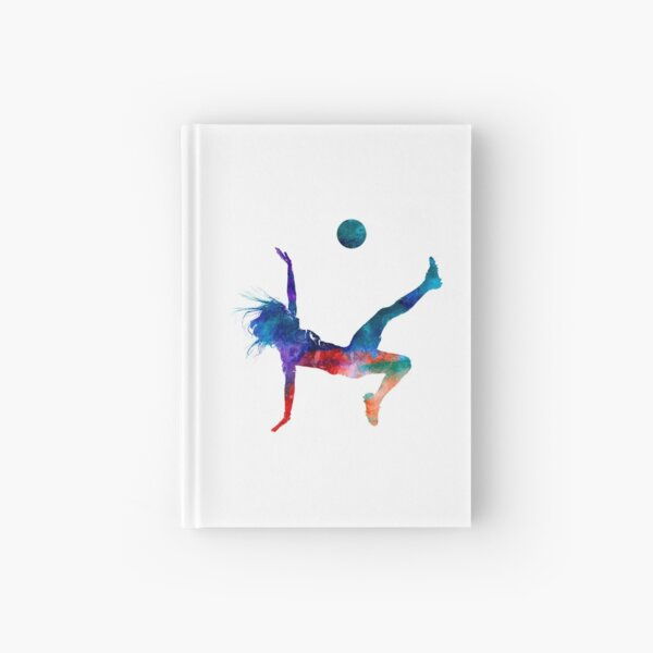 Woman soccer player 08 in watercolor Hardcover Journal