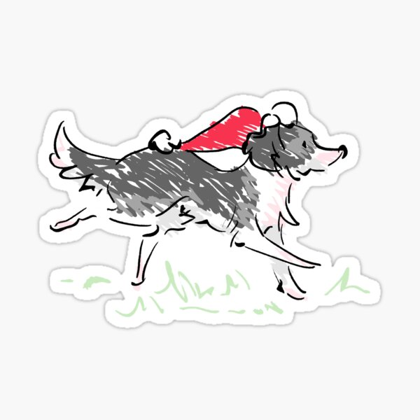 Christmas Collie Sticker