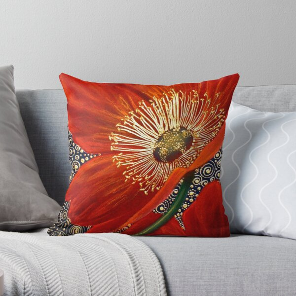 Red Velvet Poppies Throw Pillow