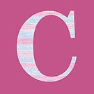 Letter C Blue And Pink Dots And Dashes Monogram Initial by theartofvikki