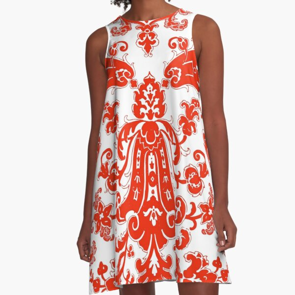 Red Floral A-Line Dress