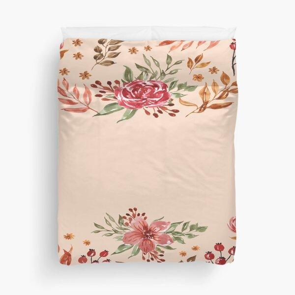 cream flora  Duvet Cover