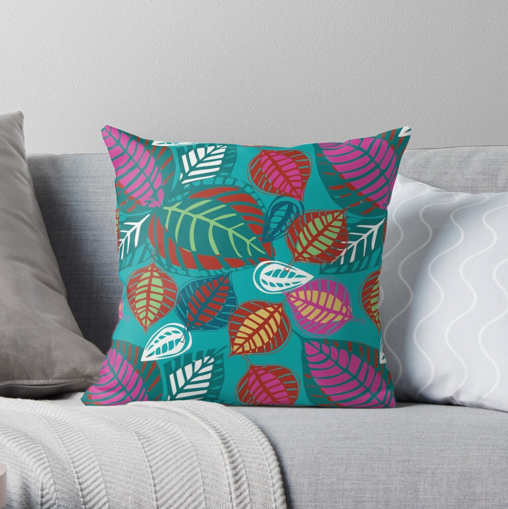"""""""Leafy Passion"""" floral design in hot colours Throw Pillow"""