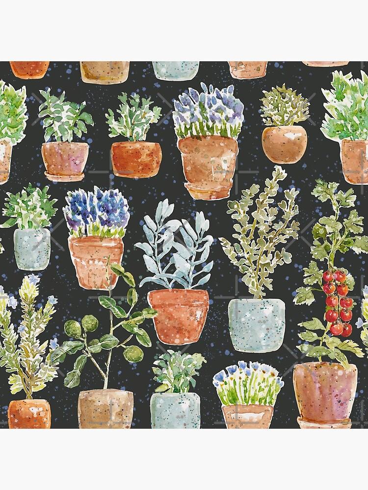 Terracotta Potted plants Earth greens & blue lake _ watercolor  by ebozzastudio