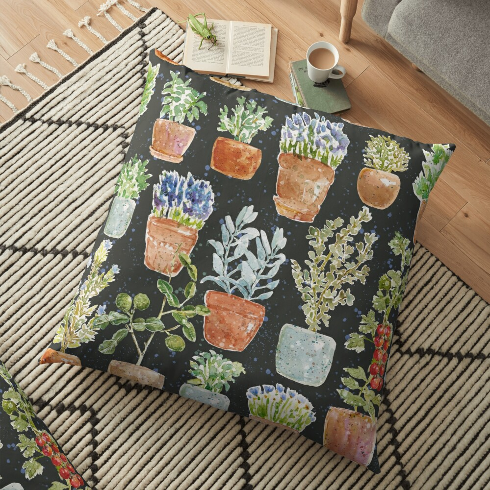 Terracotta Potted plants Earth greens & blue lake _ watercolor  Floor Pillow