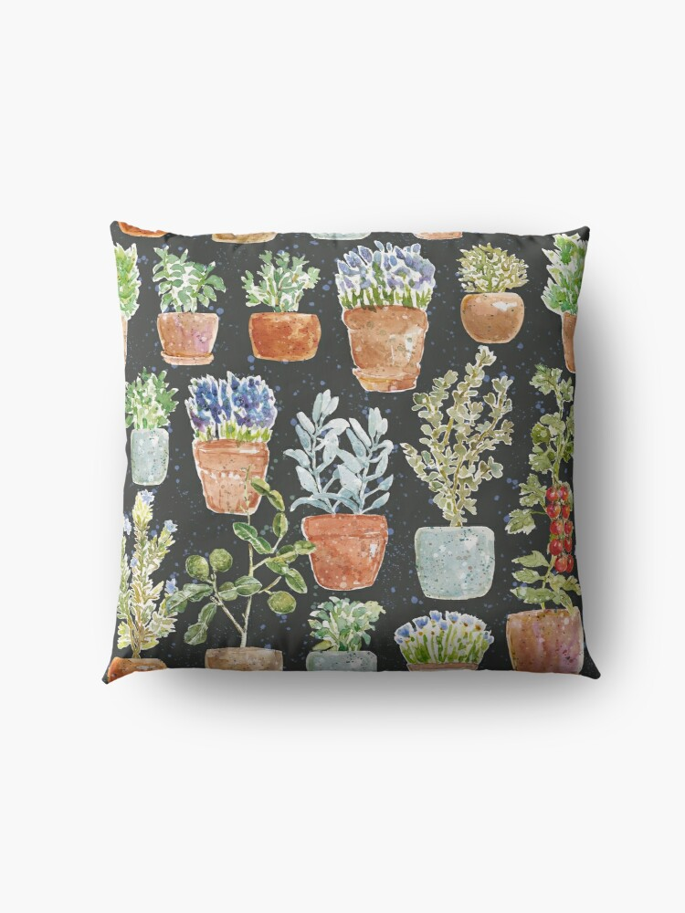 Alternate view of Terracotta Potted plants Earth greens & blue lake _ watercolor  Floor Pillow